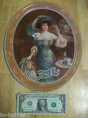 "12 1/2"" tall PEPSI COLA Victorian Lady TIN ADVERTISING Serving tray 5cent Soda"