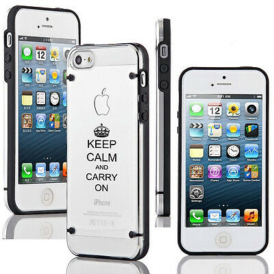 """For Apple iPhone 6 4.7"""" Clear Hard TPU Case Cover Keep Calm and Carry On Crown"""