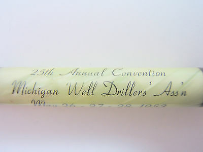 """Vintage Adv. """" Michigan Well Drillers Ass'n. """" Perpetual Calendar Letter Opener"""