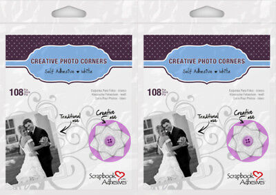 "3L Scrapbook Adhesives *2 Pkgs -108 White Photo Corners* 1/2""  3L-PC1628  422478"