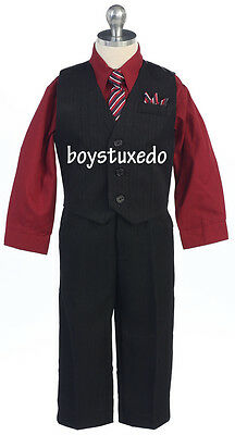 Boy's Black 4 Piece Suit Formal Dressy Vest Set Burgundy Dress Shirt Size 2T-20
