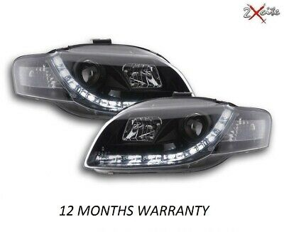 Audi A4 05-08 B7 Black Led Drl R8 Devil Eye Projector Headlights Convertible