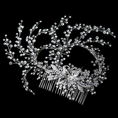 Delicate Rhodium Clear Rhinestone Hand Wired Floral Wedding Bridal Hair Comb