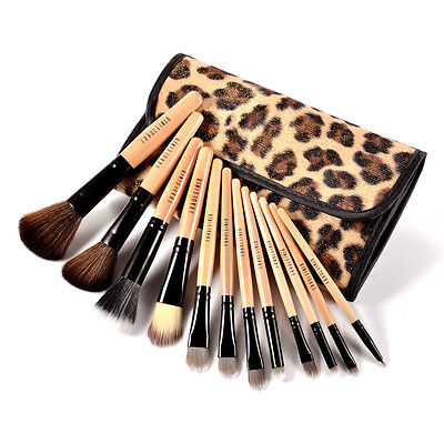 Fraulein38 12 Pinceaux Maquillage Léopard Trousse Cosmètique Brush Fard