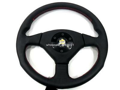 Rare Momo Style Black Leather Red Stitch Sport Steering Wheel 363Mm