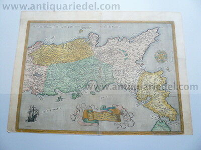 Neapolitani Regni, anno 1592, Ortelius, old colours, latin edition--ORIGINAL----