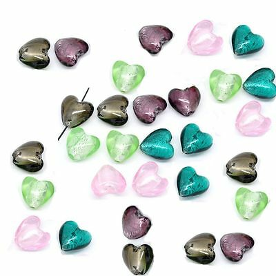 REDUCED PRICE 10 Heart Foil Glass Lampwork Beads 20mm x 20mm Jewellery Making