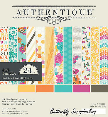 Summer RADIANT Collection 6x6 Scrapbooking Paper Crafting Pad Authentique NEW
