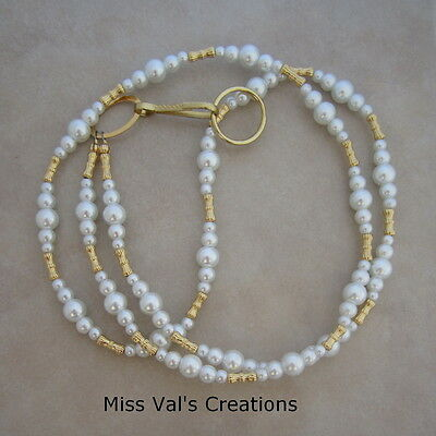 Handcrafted white pearl gold lanyard ID badge key holder 32 inches