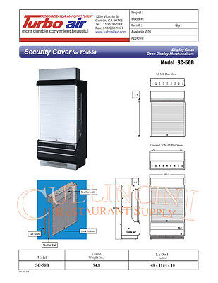 Turbo Air SC-50B Security cover for TOM-50B Display Cases Open Display Merchandi