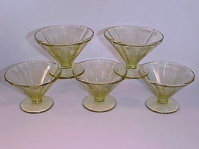 5 Amber Parrot Footed Sherbets / Federal Glass Co