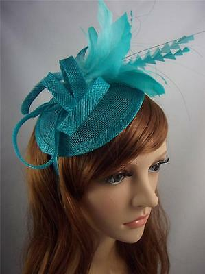 Turquoise Blue Sinamay Hat Fascinator with Feather Flower - Wedding Races