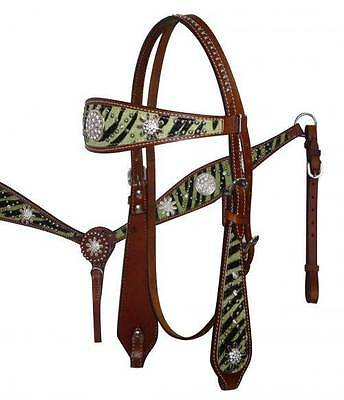 GREEN Zebra Print Headstall Breast Collar Set with Sparkling Rhinestone Conchos!