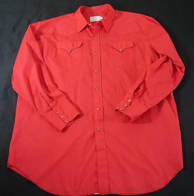 Red Shirt Western Rockabilly H Bar C California Ranchwear Square Dance Big Tall