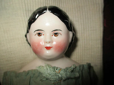 "14"" Antique Greiner Style China Doll With Brown Eyes, Antique Cloth Body"