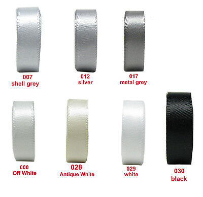 "5y 10y 38mm 1 1/2"" Silver White Black Heavy Premium  Double Sided Satin Ribbon"