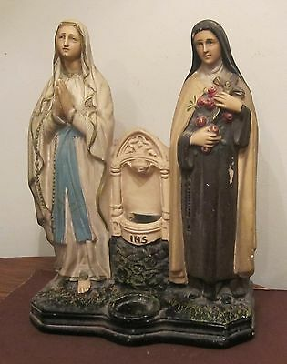 big antique chalk ware religious Saint Nun Mary statue figurine holy water font