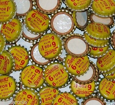 Soda pop bottle caps Lot of 25 SQUIRT 6 for 1 cent cork lined new old stock