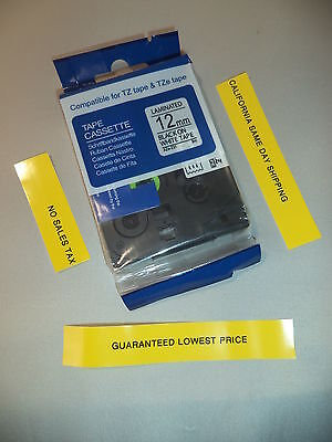 "Compatible BROTHER TZ-231 TZe-231 12mm 1/2"" LABEL-TAPE BLACK WHITE 26'"