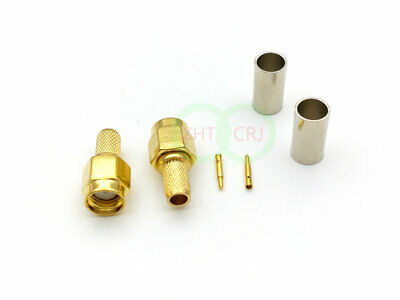 100pcs Gold plated SMA Male Plug Straight Crimp for RG58 LMR195 Connector