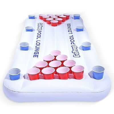 Pool Lounge - Pool Lounger and Beer Pong Table Combo