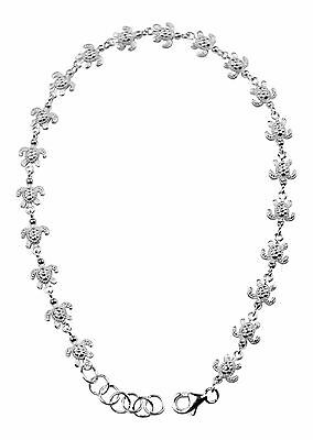 """925 Sterling Silver Anklets  Foot Chain Hawaii Sea Turtle Solid 8mm Wide 9"""" 10"""""""