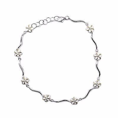 "925 Sterling Silver Anklets Foot Chain Hawaii Flower Plumeria 8mm YGP 9"" 10"" CZ"
