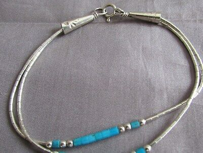 Sterling Dbl Strand Tourquiose Bead Link Southwestern Style Bracelet 6 3/4""