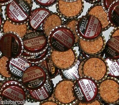 Soda pop bottle caps Lot of 25 GRILLI BLACK CHERRY SODA cork lined new old stock