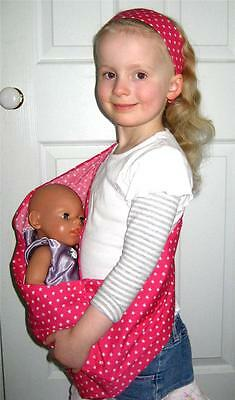 PINK STARS BABY DOLL SLING CARRIER SET + FREE matching Headband and Mini Taggie