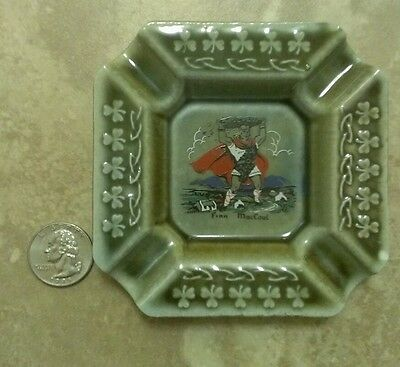 WADE Irish Porcelain Finn Mac Coul Green Ashtray Shamrocks Made In Ireland HTF