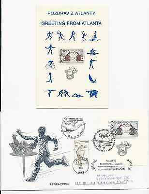 Slovakia Slovak Republic 1996 Atlanta Olympics Fdc And Mint Postcard Free Ship