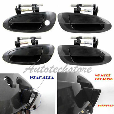 Set 4 Outer Outside Door Handle Smooth Black For 02 03 04-06 Nissan Altima DS314
