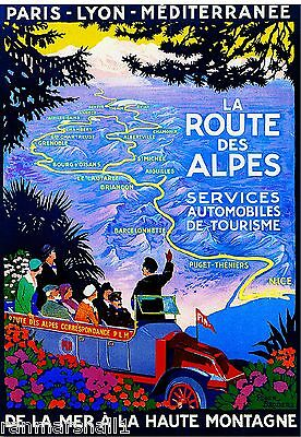 VINTAGE FRANCE ROUTE DES ALPES FRENCH TRAVEL A3 POSTER PRINT