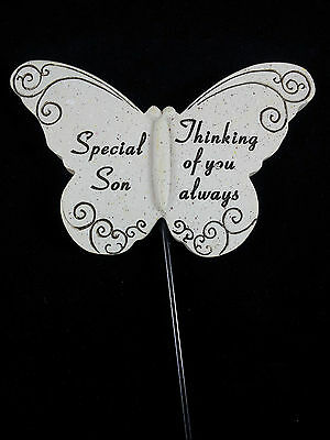 Grave Ornament memorial SON Butterfly spike tribute Rememberance Grey New