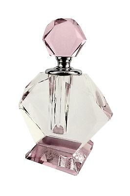 """Lenox Pink Clear Glass Dauber Perfume Bottle NIB NEW Faceted Crystal 3.5"""" Tall"""