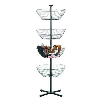 "4 Tier Free Standing Spinning Rotating Basket Wire Spin Dump Bin Rack 62"" H"