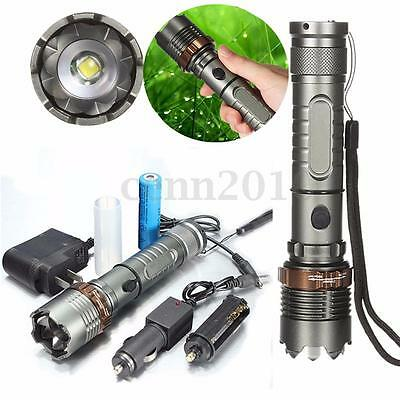 2000 Lumen CREE XM-L T6 LED Rechargeable Flashlight Torch AC&Car Charger Battery