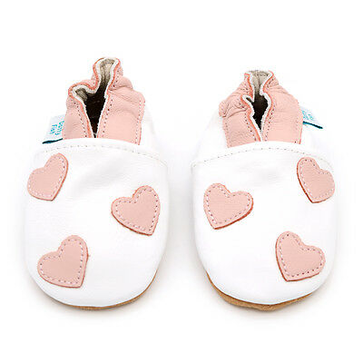 Dotty Fish Soft Leather Baby & Toddler Shoes - Pink Hearts - Newborn - 18-24M