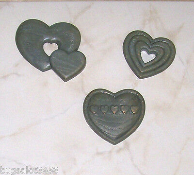 """HOME INTERIORS HOMCO 1987 SET OF THREE BURWOOD """"COUNTRY FRENCH"""" HEARTS"""