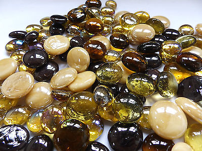 100 x Glass  Pebbles / Nuggets / Stones / Gems - Amber Gold