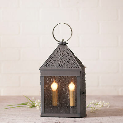 COLONIAL PUNCHED TIN LANTERN  Primitive Dual Candle Lamp  ORNATE CHISEL Pattern