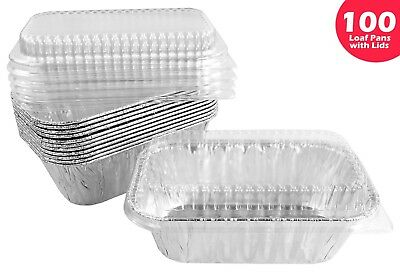 Handi-Foil 1 lb. Aluminum Mini-Loaf/Bread Baking Pan w/Clear Low Dome Lid 100/PK