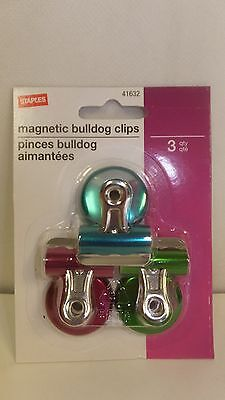 3 Pack #1 Magnetic Bulldog Clips, Pink, Blue & Green (41632)