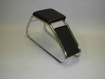 Chrome Frame Shoe Fitting Stool Bench With Black Vinyl Padded Seat & Foot Rest