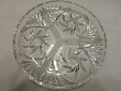 """7 3/4""""  CRYSTAL CLEAR SIGNATURES SECTIONAL TRAY new in box 24% lead crystal"""