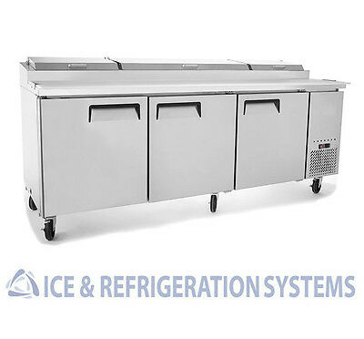 "Stainless Steel  93"" Commercial 3 Door Pizza Prep  Refrigerator  Cooler Table"