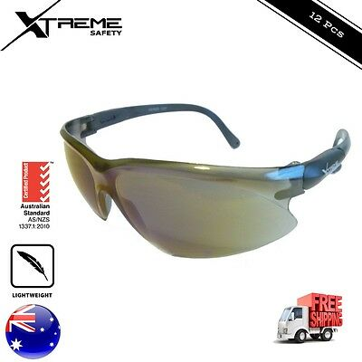 Safety Glasses Eye Protection Blue Mirror Lens General Work Glasses PPE 12 pcs