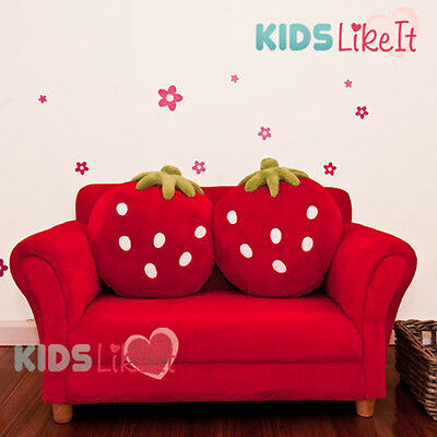 KIDS GIRLS 2 Seater Timber STRAWBERRY SOFA COUCH Arm CHAIR w/ CUSHION *New* RED