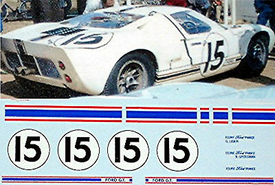 "1:32 DECAL - FORD GT 40 ""FORD FRANCE"" Le Mans #15"